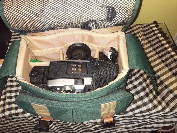 Minolta SRT 201 Film Camera with attachments