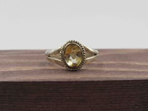 Size 7 Sterling Silver Rustic Citrine Gemstone Band Ring Vintage Statement Engagement Wedding Promise Anniversary Cocktail Friendship for Sale in Everett, WA