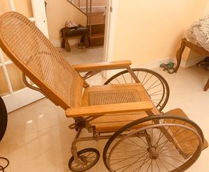 Antique Vintage Arrow 4 wheeled Wood Wicker Wheelchair Erie Penn.Ser No 38591 for Sale in HALNDLE BCH, FL