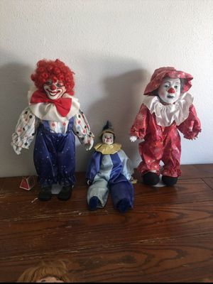 Porcelain clowns. —Dynasty dolls 20 each. All for 50. Collectible. $40'each online Sitting clown is wind up musical for Sale in Ontario, CA