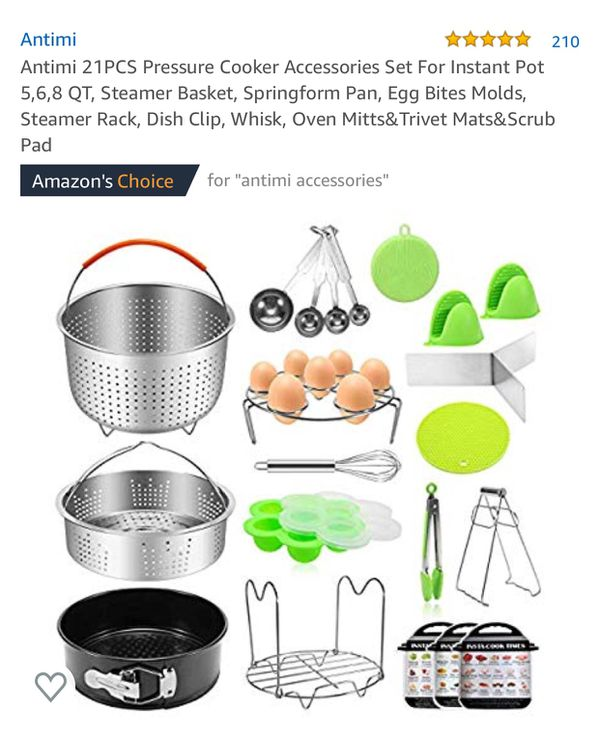 Antimi Pressure Cooker Accessories Set For Instant Pot 5,6,8 QT, Steamer Basket, Springform Pan, Egg Bites Molds, Steamer Rack, Dish Clip, Whis