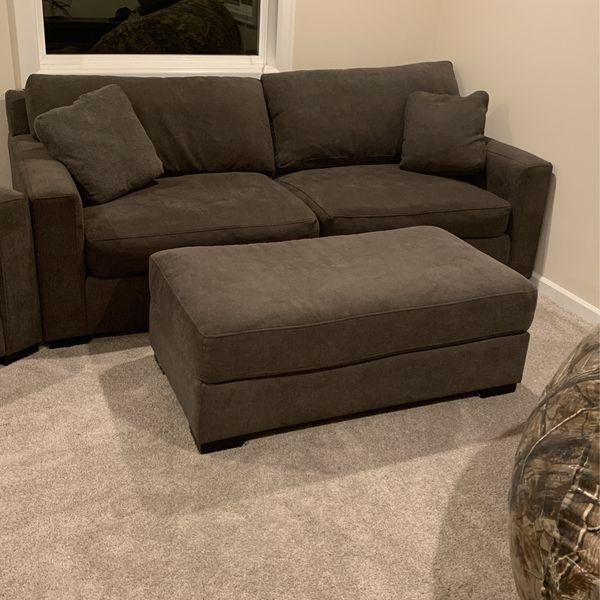 Dark Gray Stanton Sofa And Love Seat With Ottoman