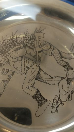 STERLING SILVER PLATE NORMAN ROCKWELL BRINGING HOME THE TREE for Sale in Leesburg, VA