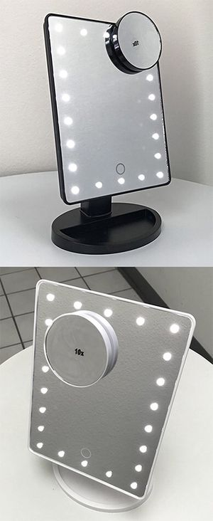 """$15 each New 11x6.5"""" LED Vanity Makeup Mirorr Touch Screen Dimming w/ 10x Magnifying (Black or White) for Sale in Whittier, CA"""