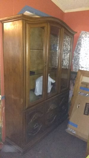 China cabinet real wood, heavy great condition, with 2 glass shelves in the top, and plenty of storage in the bottom. for Sale in Louisville, KY