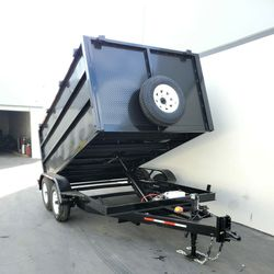 """2021 DUMP TRAILER 12FT LONG 4"""" HIGH 14000 LBS HYDRAULIC 6000LBS EACH AXLE TIRE INCLUDING for Sale in Los Angeles,  CA"""