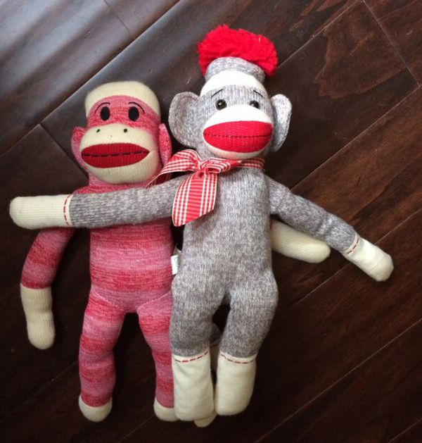 Sock monkeys stuffed animals great condition clean no pets no smoke clean from storage