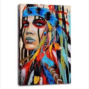Native American Indian Girl Feathered Canvas for Sale in Winchester, CA