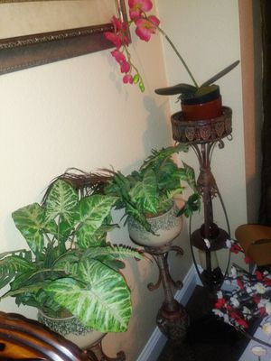 3 rustic candle holders with plants for Sale in Elk Grove, CA