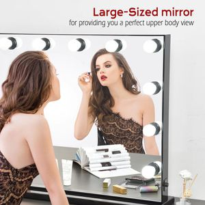 34x26 inch BLACK Large Vanity Mirror with Lights, Hollywood Lighted Makeup Mirror with 12 Dimmable LED Bulbs $225 for Sale in Chino Hills, CA