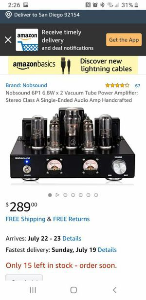 Nobsound 6P1 6.8W x 2 Vacuum Tube Power Amplifier for Sale in San Diego, CA