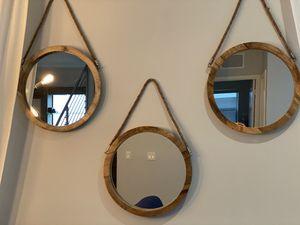 Circular Wood Mirror (Set of 3) for Sale in Hialeah, FL
