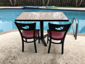 Chili's Restaurant Tile Top Table and 4 Chairs for Sale in Davie, FL