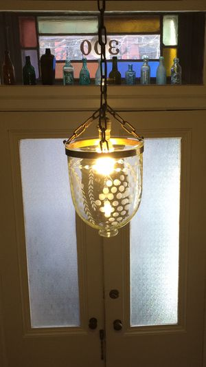 Antique Entryway Light smoke bell Acid Etched Glass for Sale in Jersey City, NJ