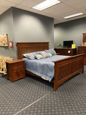5 Piece Bedroom Set Solid Mahogany - Price Includes King, Queen or California King Bed Frame, 2 Nightstands, Dresser & Mirror for Sale in Vancouver, WA