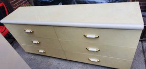 Italian Made Vintage 6 Drawer Double Dresser in Gloss Pearl White for Sale in Detroit, MI