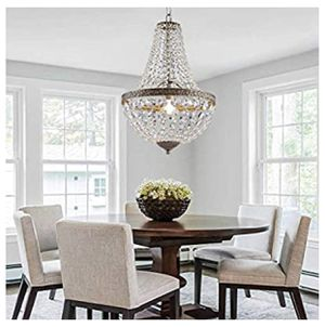 BRAND NEW | French Empire Antique Silver Finish Farmhouse Crystal Pendant Chandelier Lighting for Sale in Cockeysville, MD