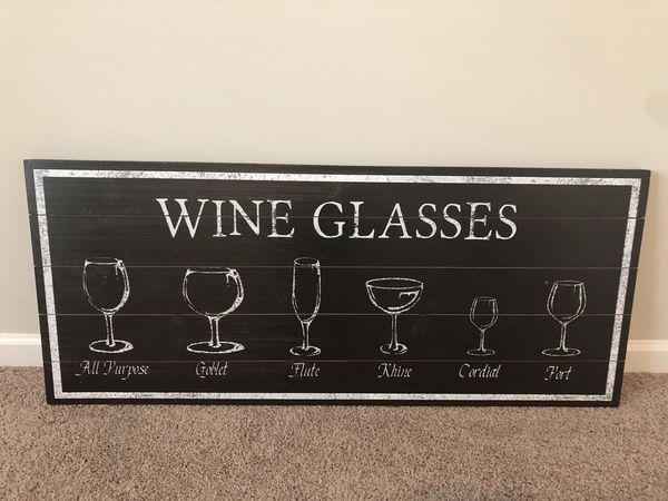Farmhouse wood wine glass wall art