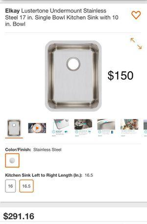"Elkay undermount stainless steel 17"" single bowl kitchen sink 10"" bowl for Sale in Bakersfield, CA"