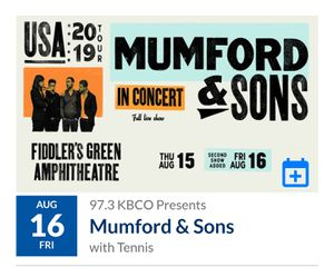 Mumford and sons GA tickets for 8/16 for Sale in Wheat Ridge, CO