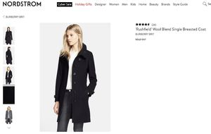 Burberry wool blend signal breasted coat size 6 for Sale in San Jose, CA