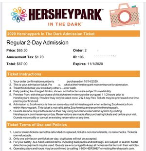 Hershey park 2 day tickets pass for sale for Sale in The Bronx, NY