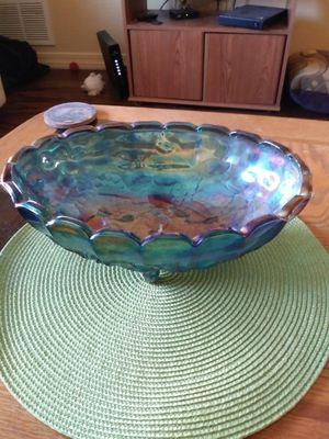 Blue Carnival Glass Fruit bowl for Sale in Tempe, AZ