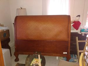 Queen-size solid wood carved sleigh bed style headboard add a frame for $10 for Sale in Greensboro, NC