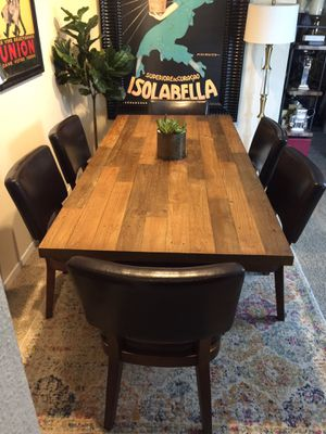 World market reclaimed wood dining table set with 6 chairs for Sale in San Diego, CA