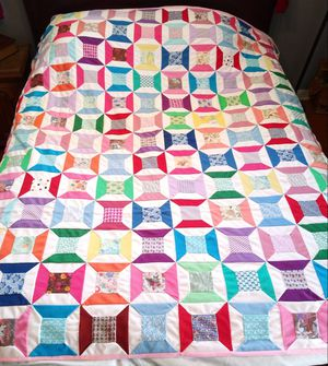 Hand Stitched Hand Sewn Hand Made Patchwork Quilt Twin Full Size Pink 85x78 for Sale in Garland, TX