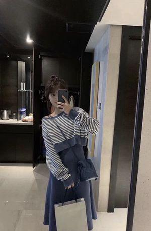 Stripes Sweatshirt+Blue Midi Skirt Set for Sale in San Francisco, CA
