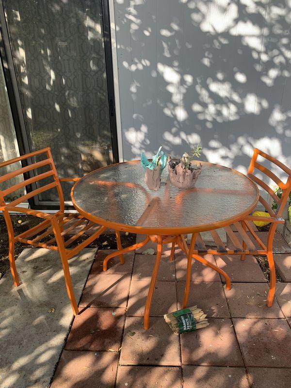 Orange patio set