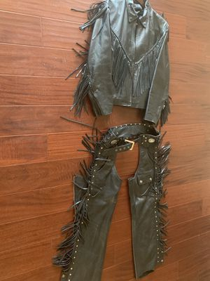 Women's Fringed Black Leather Motorcycle Jacket and Fringed Chaps for Sale in Alpine, CA