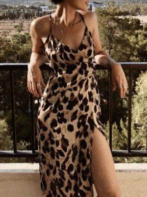Women's Leopard Spaghetti Strap Slit Dress Size Large for Sale in Baldwin Park, CA