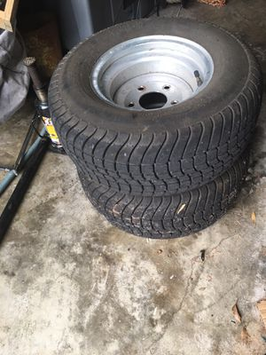 10 IN GOLF CART or PONTOON BOAT TRAILER TIRES,BRAND NEW! on 5 hole rims for Sale in Lakeland, FL