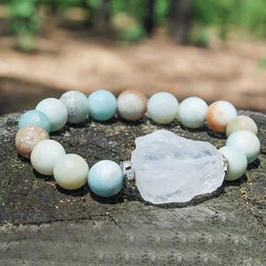 Natural stone 100% Matte Amazonite with raw quartz charm bracelet 10mm for Sale in Chicago, IL