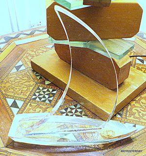 Art deco lucite vintage plastic clear sailing ship or sailboat ! for Sale in Saginaw, MI