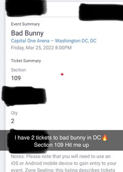 Bad Bunny Tickets DC for Sale in Wheaton, MD
