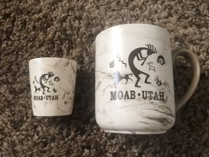 Moab Mug and shot glass never used NO HOLDING FCFS PM if interested for Sale in West Jordan, UT