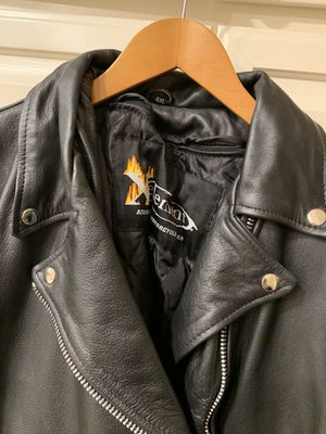 Leather Motorcycle jacket. Size 4X. Pick up only. Has zip in Quilted lining for warmth. Never worn. Good quality strong leather. Would make a for Sale in Laguna Woods, CA