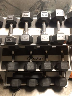 Dumbbells, racks, curl bar with weight plates for Sale in Dallas, TX