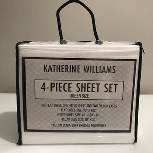 Katherine Williams White Queen Size Sheet Set Brand New for Sale in Los Angeles, CA