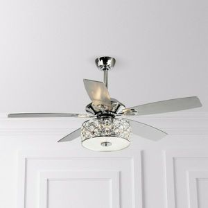 """52"""" Tibuh Modern Crystal Chandelier Ceiling Fan With LED Light and Remote Control, 5 Blades, Chrome for Sale in Whittier, CA"""