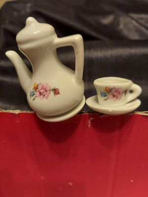 2 PLANT PICKS: Decorative CHINA Or PORCELAIN FLORAL PICKS in adorable TEA Pot or COFFEE POT with matching CUP & SAUCER. Matching floral design for Sale in Layton, UT