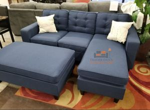 Brand New Blue Linen Sectional Sofa Couch + Ottoman for Sale in Silver Spring, MD