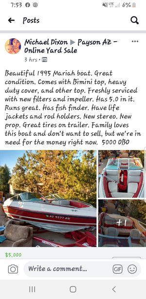 1995 mariah dish and ski boat for Sale in Payson, AZ