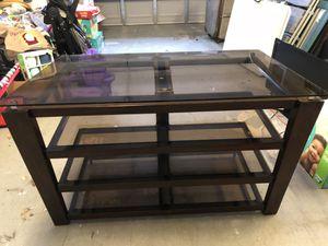 Glass and Dark Cherry Wood TV Stand for Sale in Alafaya, FL