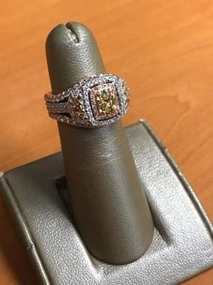 Two-tone 14K Rose and White Gold Natural Fancy Yellow and Pink Diamond Wedding Set for Sale in Loganville, GA