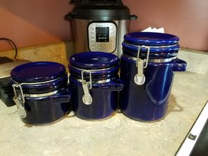 Set of 3 colbalt blue kitchen canisters for Sale in Seattle, WA