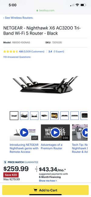 Netgear nighthawk AC3200 tri band ROUTER for Sale in Silver Spring, MD